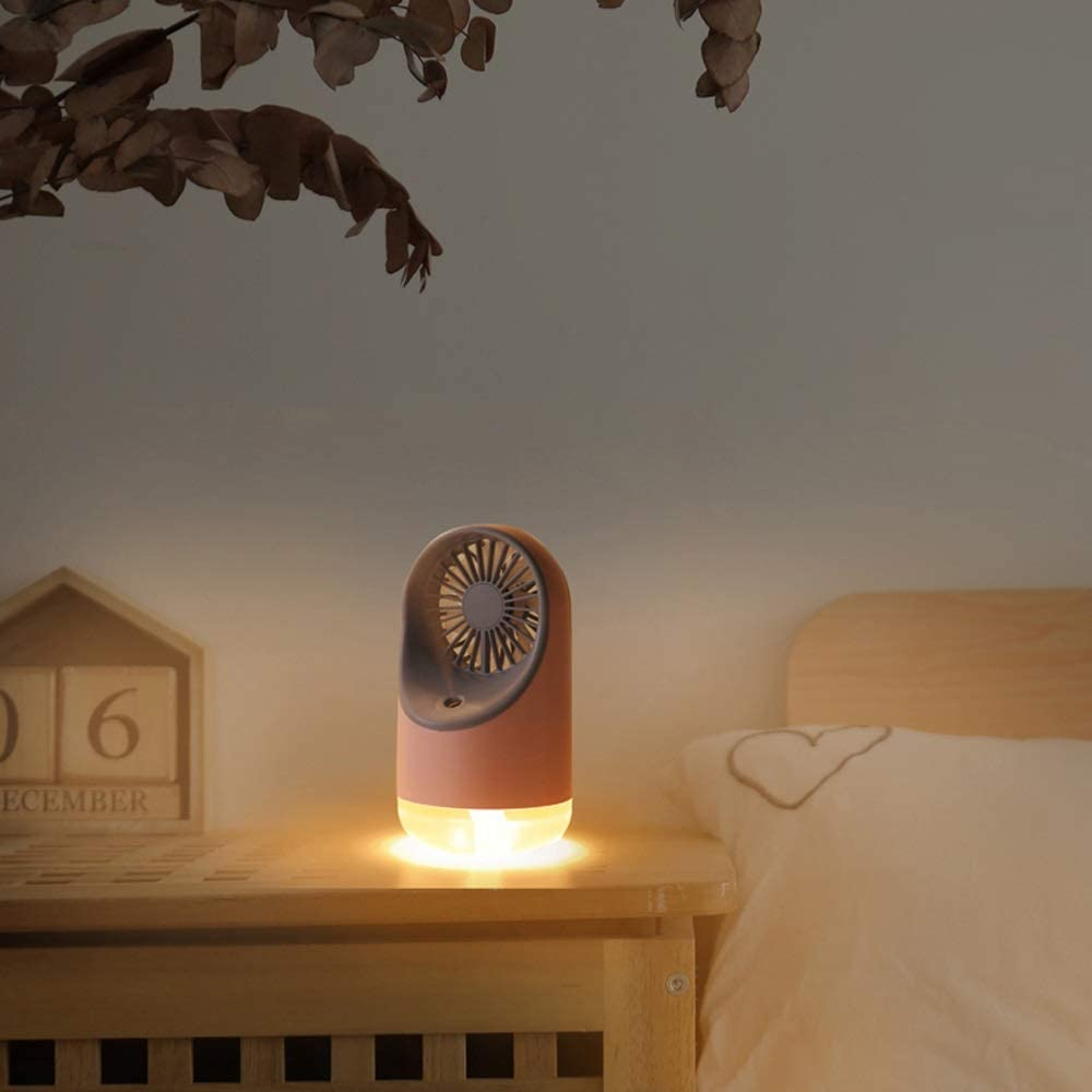 Qmm-111 LED Night Lamp Small Fan Portable Mini Spray Fan USB Charging Refrigeration Cooling Table Fan Desk Fans Three Speed Regulation Color : Pink.