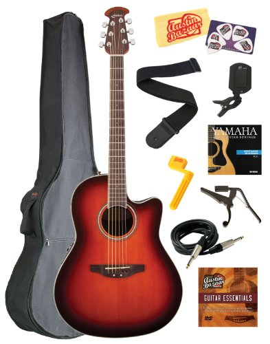 Celebrity Standard Mid-Depth Cutaway Acoustic-Electric Guitar Bundle with Gig Bag, Instrument Cable, Strings, Strap, Tuner, Capo, String Winder, Picks, Instructional DVD, and Polishing Cloth - Sunburst - Ovation CS24-1