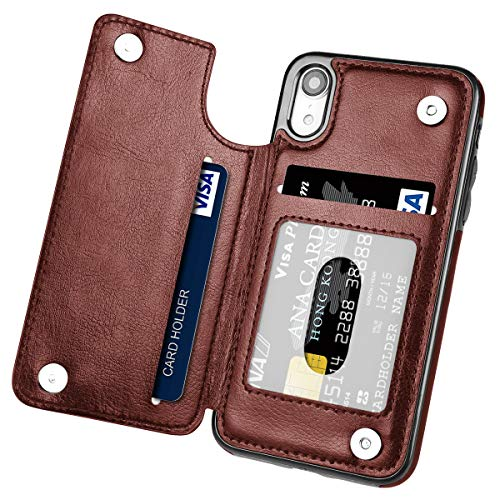 Shell Leather Synthetic (iPhone XR Case,Hoofur Slim Fit Premium Leather iPhone XR 2018 Wallet Case Card Slots Shockproof Folio Flip Protective Shell for Apple iPhone XR (6.1 inch) 2018 (Brown))