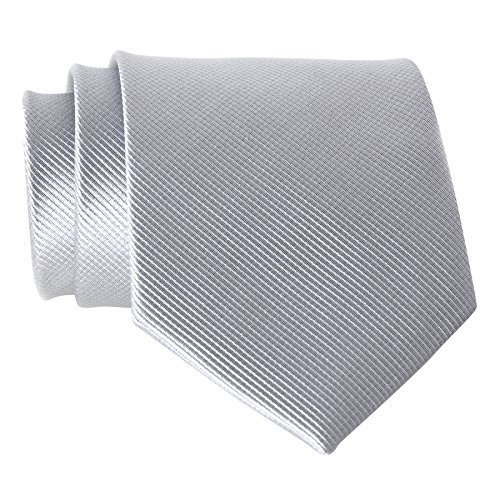 QBSM Mens Silver Light Grey Polyester Solid Pure Neck Ties Formal Dress Necktie