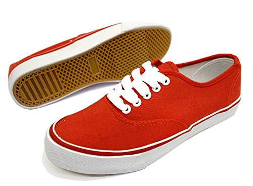 3 Ladies Lace up Pumps Casual Canvas 8 Shoes Sizes Flat Trainer Plimsoll Red Unbranded 7wqSdpp