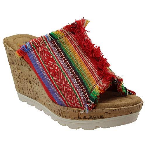 De Fabric Talla Minnetonka Punta York Sandalias Cuña Stripe Abierta Frisco Mujeres Casual RYAqO