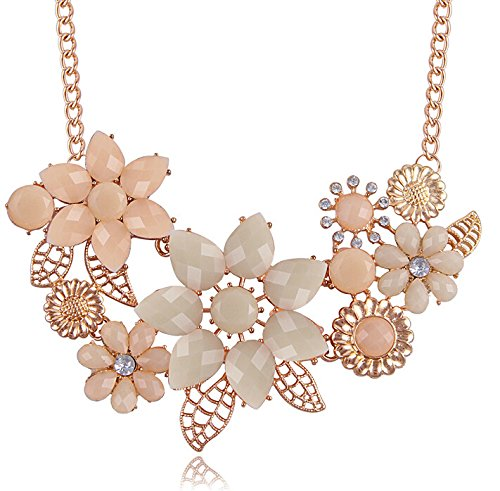 BeOne Temperamental Bohemia Style Flower Shaped CZ Rhinestone Bubble Bib Choker Statement Chain Necklace