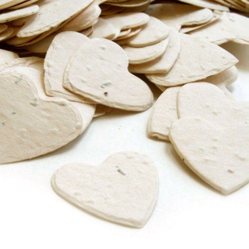Heart Shaped Plantable Seed Confetti in Cream Value Pack (two 350 piece bags = 700 pieces of seed confetti)