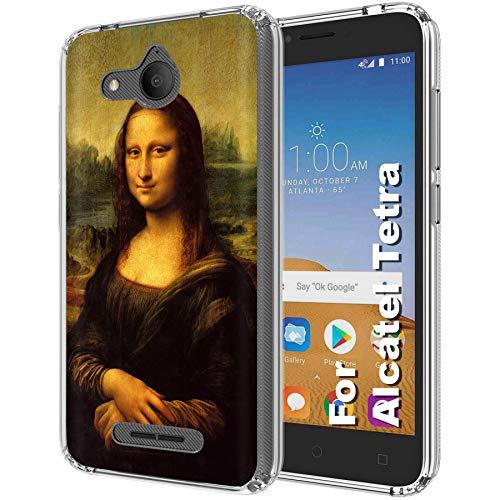 Thin Flex Case for Alcatel Tetra, 5 in Screen, Clear Flexible Slim TPU Printed Design, Mona Lisa Print