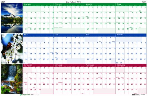 House of Doolittle Earthscapes Scenic Laminated Write-On/Wipe-Off Wall Planner, January 2015 to December 2015, 32 x 48 Inches, Nature Photo, Recycled (HOD3931) (Earthscapes Laminated Planner)