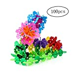 Eaarliyam 100Pcs Creative Kids Flakes Interlocking Plastic Disc Set for Fun Creative Building Educational Stem Construction Toy for Boys and Girls