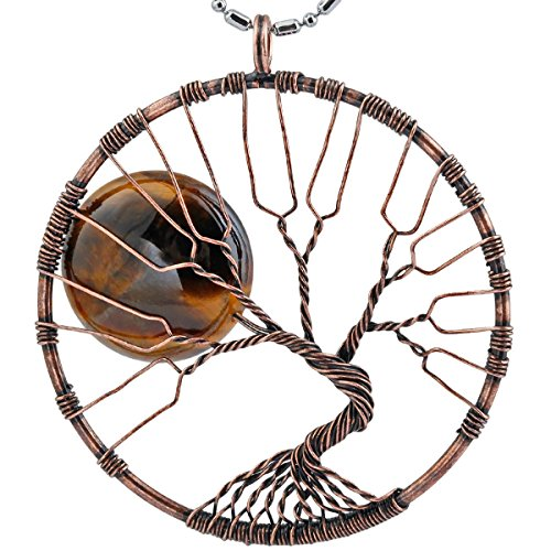 rockcloud Handmade Tree of Life Full Moon Tumbled Stones Pendant Necklace Wire Wrapped 14 Chakra Stone Wire Wrapped Crystal