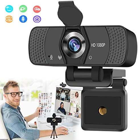 Burxoe Webcam,1080P Hd Web Camera with Microphone for Desktop Computer Laptop, Pc USB Camera Streaming 110-Degree Wide Angle with Privacy Cover Tripod Mic for Study,Conference,Video Calling