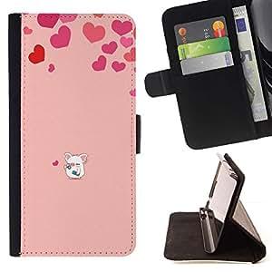 For Huawei Ascend P8 Lite (Not for Normal P8) Case , Corazón del amor del cerdo rosado lindo- la tarjeta de Crédito Slots PU Funda de cuero Monedero caso cubierta de piel
