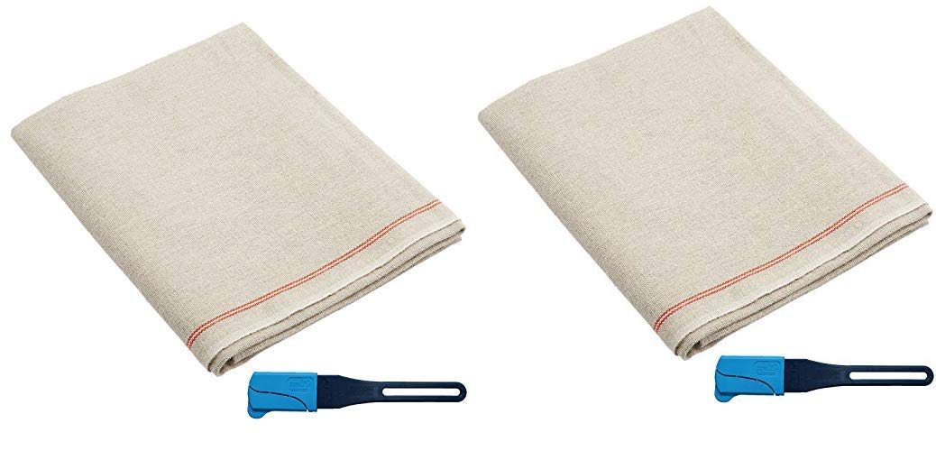 Premium Professional Bakers Couche - 100% Flax Linen Heavy Duty Proofing Cloth from Tissage Deren of France, with One Bonus Mure & Peyrot Fixed Blade Lame, 35x26 Inch, by BrotformDotCom (2-(Pack))