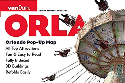 Orlando Pop-Up Map by VanDam -- City Street Map of Orlando, FL -- Laminated folding pocket resort map with Walt Disney World, Universal Studio and Int'l Drive Details, 2016 - Detail Map