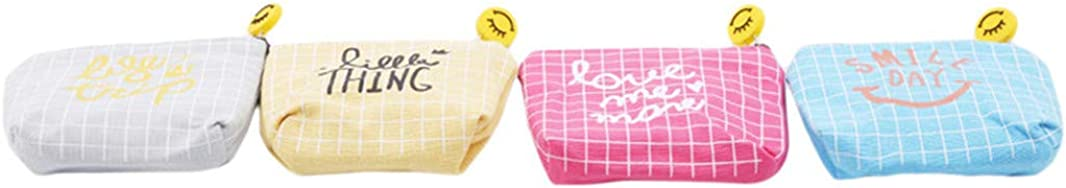 Sperrins Mini Coin Purse,Fashion Smile Letters Grid Canvas Zipper Wallet