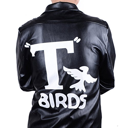 HUALIL Grease T-Birds Jacket Men's Adult Kids 1950s Black Faux Leather Danny Costumes Rock Coat Child Boy, S