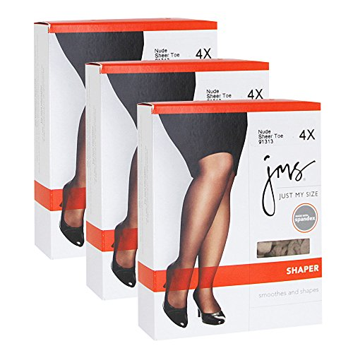 Just My Size Women`s Set of 3 Shaper with Silky Leg - Best-Seller! 3X, Jet Black (Just My Size Pantyhose Sheer Toe)