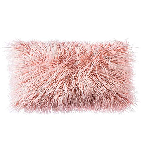 Ojia Deluxe Home Decorative Super Soft Plush Mongolian Faux Fur Throw Pillow Cover Cushion Case (12 x 20 Inch, - Girls Pillows Bed For Throw