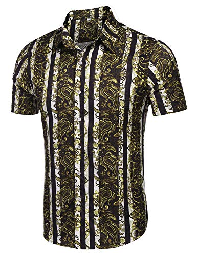 poriff Mens Casual Luxury Print Short Sleeve Retro Button Down Cotton Shirts Gold S