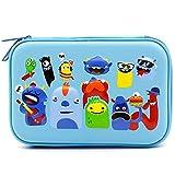 Monsters School Boys Hardtop Pencil Case Holder - Cool Toddlers Kids Pencil Box Pen Bag (Light Blue)