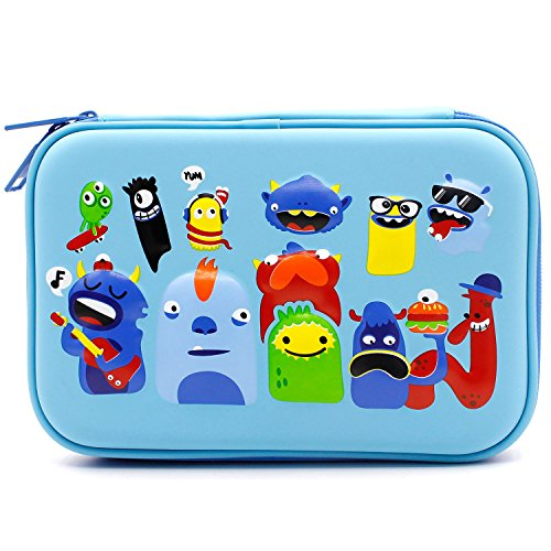 (SOOCUTE Monsters School Boys Hardtop Pencil Case Holder - Cool Toddlers Kids Pencil Box Pen Bag (Light Blue))