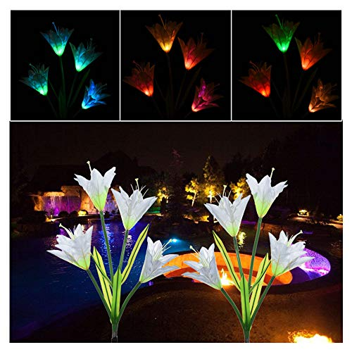 (ZGstore Solar Garden Stake Lights Outdoor- 2 Pack Solar Powered Lights with 8 Lily Flower, 7 Color Changing LED Solar Landscape Lighting Light for Decorating The Path, Yard, Lawn,Patio (Muticolor))