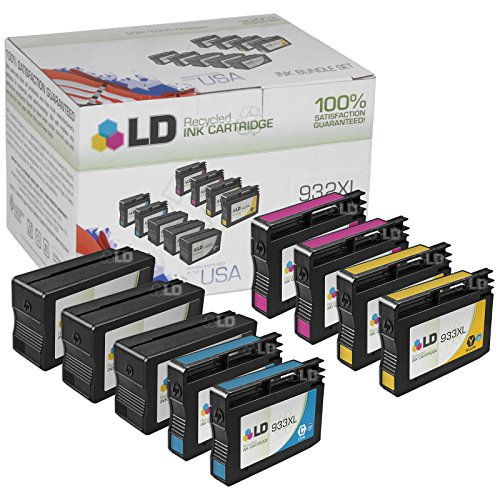 LD Reman Set of 9 Replacement Ink Cartridges for HP 932XL / 932 and HP 933XL / 933 - 3 BLK CN053AN + 2 Cyan CN054AN, Magenta CN055AN, Yellow CN056AN for OfficeJet 6100, 6600, 6700, 7110 ePrinter, 7610