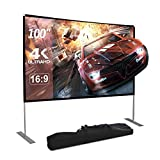 Dessports Projector Screen with Stand 100 inch 4K HD Portable Outdoor Movie Screens Wrinkle-Free Foldable Video Projection with Carry Bag for Indoor Office Home Backyard Theater Camping