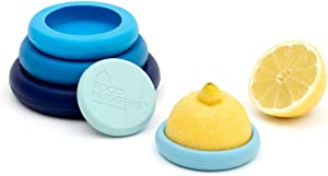 Food Huggers Reusable Silicone Food Savers Set of Five - Patented Product (Ice Blue)