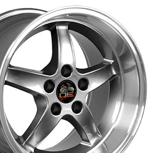 17x10.5 Wheel Fits Ford Mustang Cobra R Style DD Gunmetal w/Mach'd Lip Rim - REAR (1996 Mustang Cobra Rims compare prices)