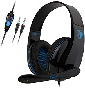 SADES Computer Headset TPOWER Stereo Headphones with Noise Isolating Microphone,Entry-Leve Earphones with 3.5mm Jack for PC Gamers(Only for Devices with Dual Jack of Audio and mic)