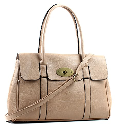 Beige Handbag Shoulder Aossta Bag Large Faux Turnlock Leather nwv08A