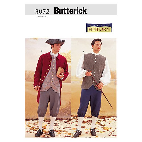 BUTTERICK PATTERNS B3072320 Historical Costume (Coat, Vest, Shirt, Pants and Hat), Size 32-34-36