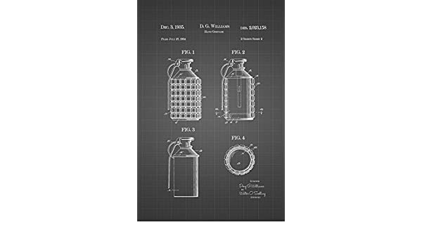 JP London Heavyweight WW1 Combat Hand Grenade Prepasted Removable Vintage Black Grid Poster Patent Art at 36 in by 24 in SPMURJSGLT06