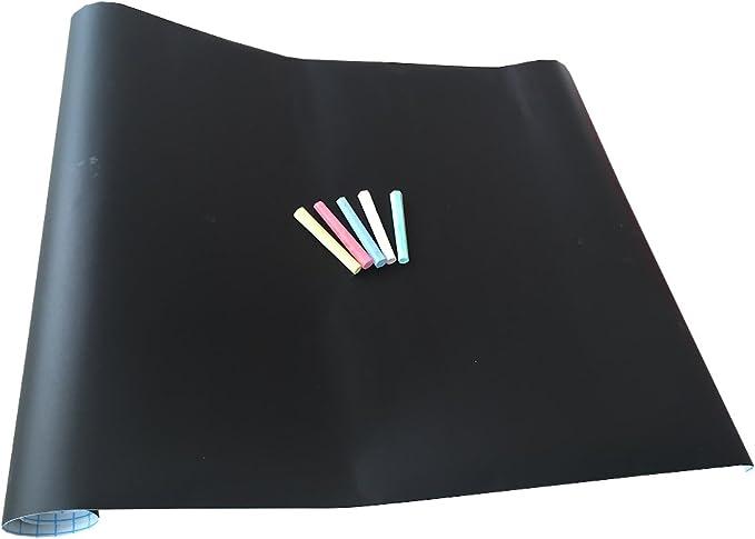 Set Lavagna adesiva per Bambini da parete con 5 Gessi colorati nera 200x45 muro