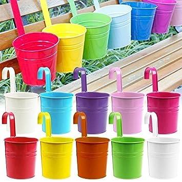 10pcs flor potes 10 colorea el hierro del metal que florece el colgante de la planta del jardín del balcón que planta la decoración casera: Amazon.es: Hogar