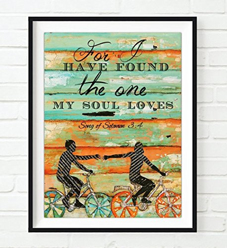 Bible Wedding Gift (For I have found the One my Soul loves - Danny Phillips UNFRAMED art PRINT, Songs of Solomon 3:4 -Biking Bicycle Cycling wall decor poster wedding engagement Anniversary gift for her, 8x10 inches)