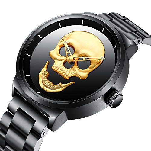 Watch,Mens Fashion Large Face Gold Skull Watch with Bracelet Link Band,Stylish Cool Stainless Steel 98 FT Waterproof Watch for Men (Watch Large Bracelet)