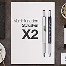 Multifunction Pen, [Silver & Black] 6-in-1 Ballpoint Pen, Ruler, Spirit Level, Phillips Screwdriver, Flat Head Screwdriver & Touch Screen Stylus [2 Pack]