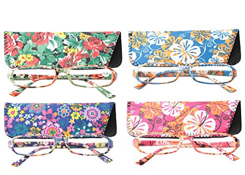 (SOOLALA 4-Pair Designer Fashionable Spring Hinge Rectangular Reading Glasses w/Matching Pouch, 4PairB, 1.0)