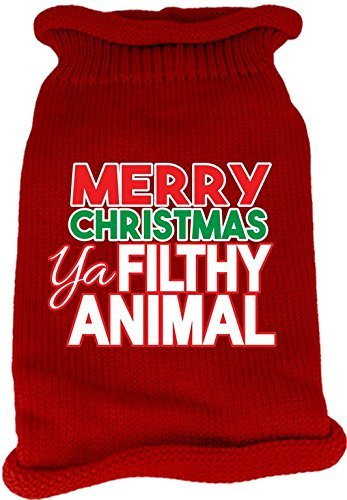 Mirage Pet Products 621-16 SMRD Ya Filthy Animal Screen Print Knit Red Pet Sweater, Small by Mirage Pet Products (Image #1)