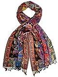 Bohomonde, Bethshaya Cashmere Silk Pashmina Shawl Scarf, Indian Floral Paisley Hand Made in Nepal (Red/Orange/Black)