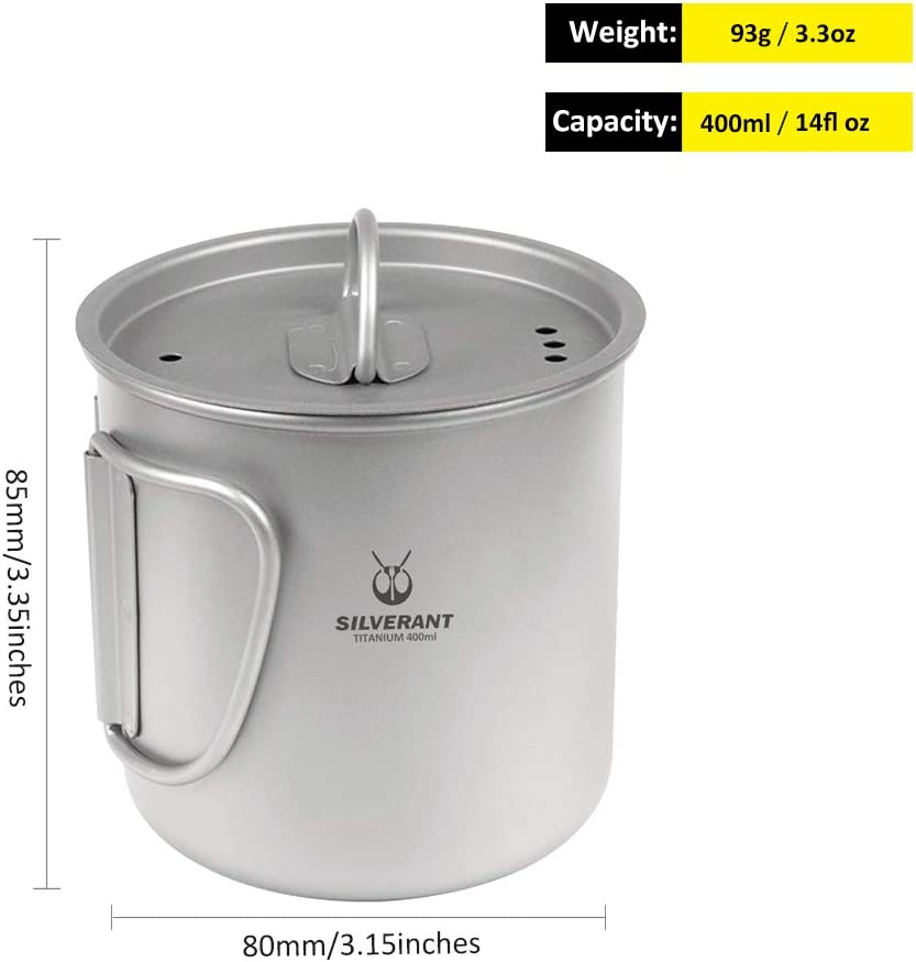 SilverAnt Titanium Extra Strong Ultra-Light Weight Outdoor Cup Mug with Collapsable Handles and Enclosed Lid