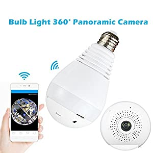 Bekhic M-9 Fisheye Lens 360° Wireless Panoramic HD Wireless IP Hidden Spy Camera?LED Bulb Home Security System With Real Time Monitoring And Intercom?White