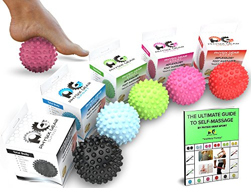 Physix Gear Sport Massage Balls - Best Spiky Ball Roller for Plantar Fasciitis Trigger Points Neck & Back Pain Relief - Deep Tissue Rehab Reflexology Acupressure - Reach Areas Foam Rollers Can't (PNK)