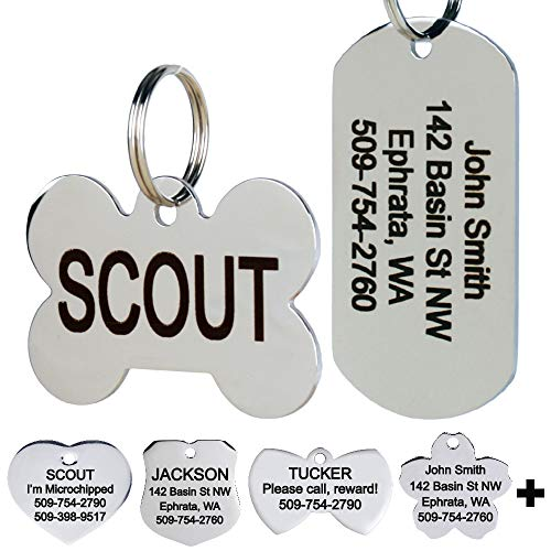 GoTags Stainless Steel Pet ID Tags, Personalized Dog Tags and Cat Tags, up to 8 Lines of Custom Text Engraved on Both Sides, in Bone, Round, Heart, Bow Tie, Flower, Star and More (Rectangle, Small) (Best Place To Order Custom Patches)