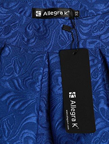 plisse Jupe taille et Allegra K fleurs en Bleu Femme ample haute jacquard pXXUqx