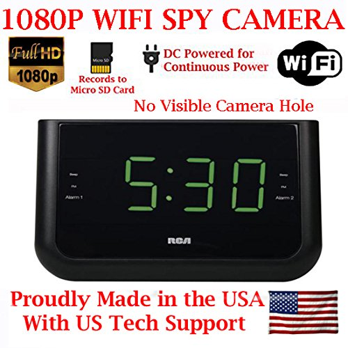 SecureGuard 1080P HD WiFi Wireless IP Alarm Clock Radio Hidden Security Nanny Cam Spy Camera with...