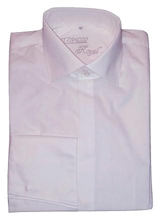 Tziacco Royal Camisa, Tiburón Cuello, Color Blanco: Amazon.es ...
