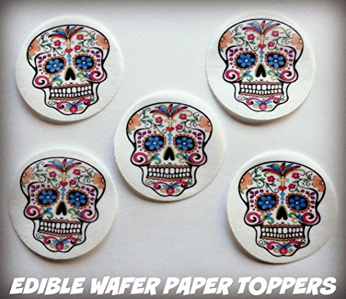 Edible Halloween Decorations Cupcakes (12 HALLOWEEN DIA DE LOS MUERTOS DAY OF THE DEAD COLORFUL SKULL PRECUT EDIBLE CAKE TOPPERS 1.5