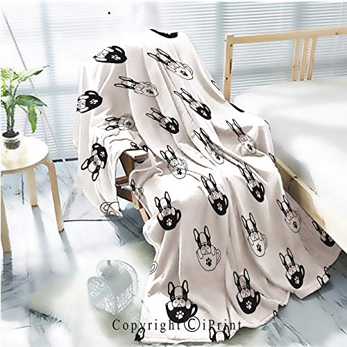 Printed Throw Blanket Smooth and Soft Blanket,Dog seamless pattern french bulldog isolated cup paw puppy wallpaper background white For Sofa Chair Bed Office Travelling Camping,Kid Baby,W31.5
