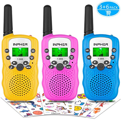 Inpher 3 Pack Walkie Talkies Bonus Kids Temporary Tattoos, 22 Channels 2 Way Radio Toy with Backlit LCD Flashlight, 3 Miles Range for Kids, Outdoor Adventures, Camping, Hiking -